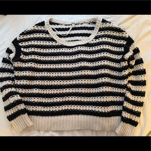 free people black and creme striped sweater